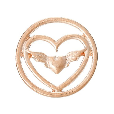 Heart With Wings Floating Charms Dish Plate for Glass Locket Pendants - Sexy Sparkles Fashion Jewelry - 1