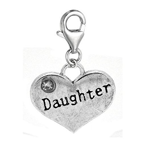 Clip on Daughter Two Sided Heart Charm Pendant for European Jewelry w/ Lobster Clasp