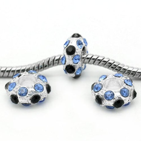 Blue, Clear and Black Bead Spacer for Snake Chain Charm Bracelet - Sexy Sparkles Fashion Jewelry - 3
