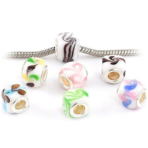 Glass Lampwork European Beads for Snake Chain Charm Bracelet - Sexy Sparkles Fashion Jewelry - 1