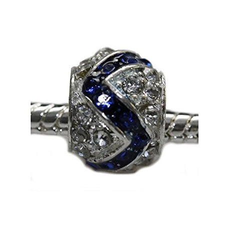 Clear and Royal Blue  Crystal Charm Bead for snake charm Bracelet - Sexy Sparkles Fashion Jewelry - 1