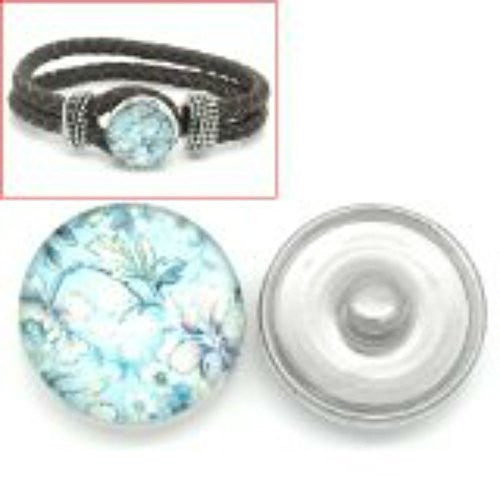 Flower Design Glass Chunk Charm Button Fits Chunk Bracelet 18mm for Noosa Style Bracelet
