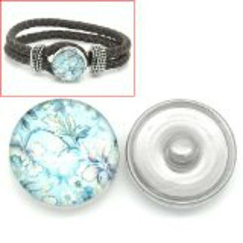 Flower Design Glass Chunk Charm Button Fits Chunk Bracelet 18mm for Noosa Style Bracelet - Sexy Sparkles Fashion Jewelry - 1