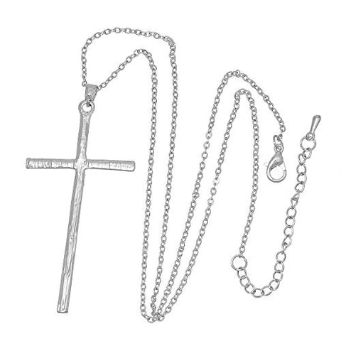 Fashion Jewelry Women Necklace Silver Tone Cross Clear Rhinestone 43.5cm(17 1/8) Long, - Sexy Sparkles Fashion Jewelry - 3