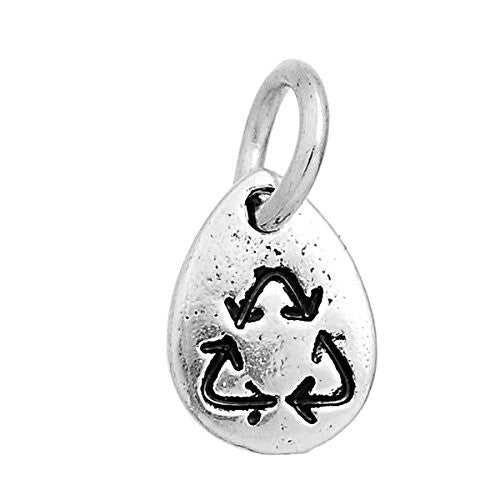 Recycling Symbol Charm Pendant Bead for Necklaces