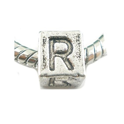 One Alphabet Block Beads Letter R for European Snake Chain Charm Braclets