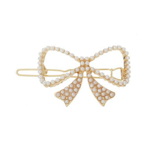 Hair Pin Clips Rose Gold Tone with Imitaiton Pearls Choose Your Design From Menu (Bowknot 5.7cm X 2.5cm) - Sexy Sparkles Fashion Jewelry