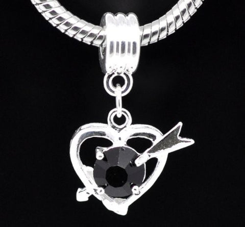 Black Rhinestone Cupid Heart Dangle for Snake Chain Charm Bracelet - Sexy Sparkles Fashion Jewelry - 2