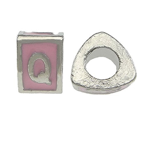 """Q"" Letter Triangle Charm Beads Pink Spacer for Snake Chain Charm Bracelet"