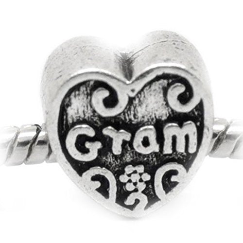 Gram Heart Charm European Bead Compatible for Most European Snake Chain Bracelet