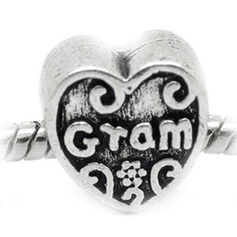 Gram Heart Charm European Bead Compatible for Most European Snake Chain Bracelet - Sexy Sparkles Fashion Jewelry - 1