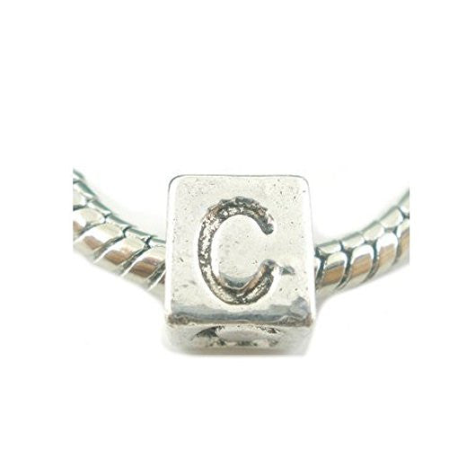 One Alphabet Block Beads Letter C for European Snake Chain Charm Braclets