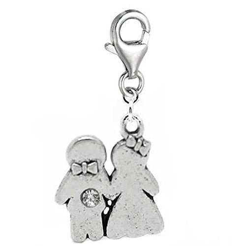 Clip on Bride & Groom Dangle Charm Pendant for European Clip on Charm Jewelry w/ Lobster Clasp