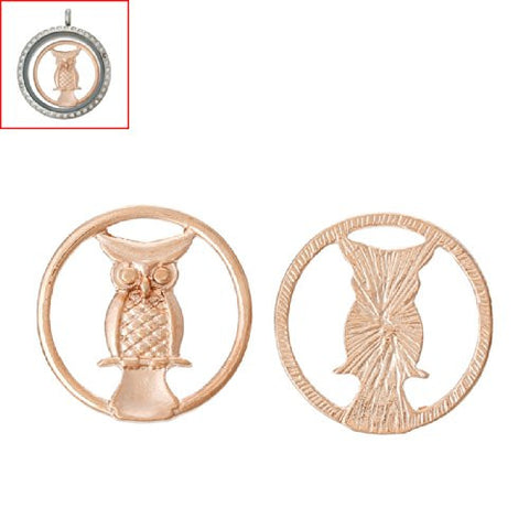 Owl Rose Gold Tone Floating Charms Dish Plate for Glass Locket Pendants and Floating - Sexy Sparkles Fashion Jewelry - 3