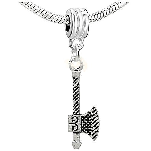 Axe Charm Dangle Bead Compatible with European Snake Chain Bracelet