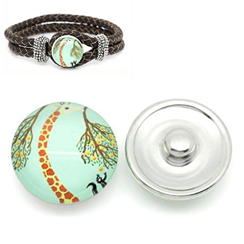 Giraffe Design Glass Button Fits Chunk Bracelet 18mm for Noosa Style Chunk Leather Bracelet