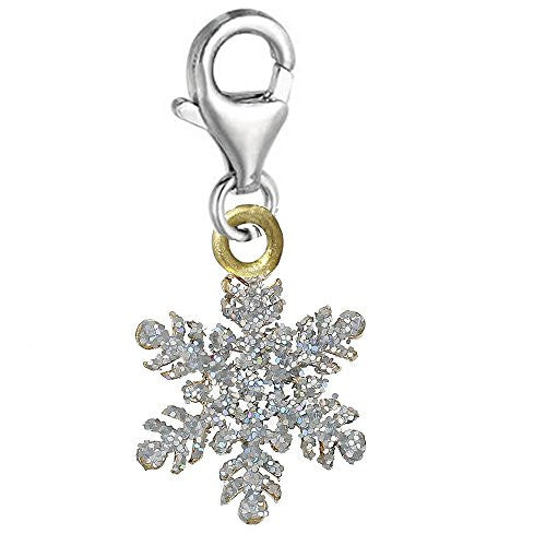 Christmas Snow Flake Clip on Lobster Clasp Pendant Charm for Bracelet or Necklace