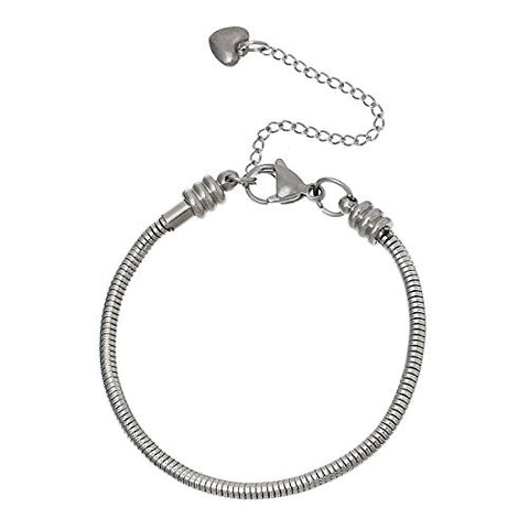 "7.2"" European Style Stainless Steel Snake Chain Charm Bracelet with Heart Lobster Clasp - Sexy Sparkles Fashion Jewelry - 1"