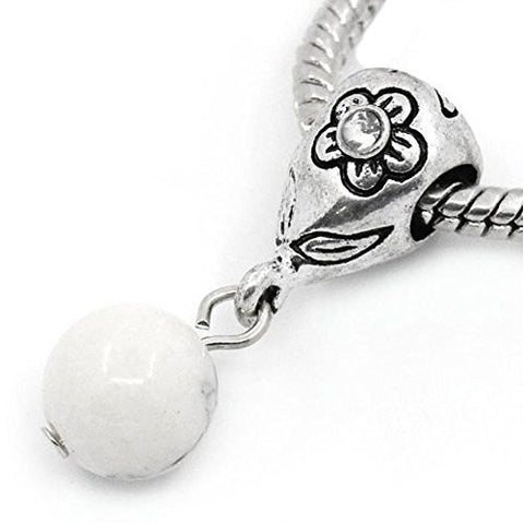 White Dangle Ball with Rhinestones Bead Charm Spacer for Snake Chain Charm Bracelets - Sexy Sparkles Fashion Jewelry - 1