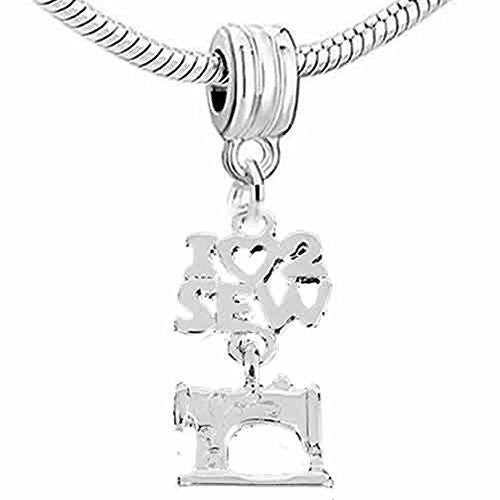 Sewing Machine I Love 2 Sew Dangle Spacer Charm European Bead Compatible for Most European Snake Chain Bracelet