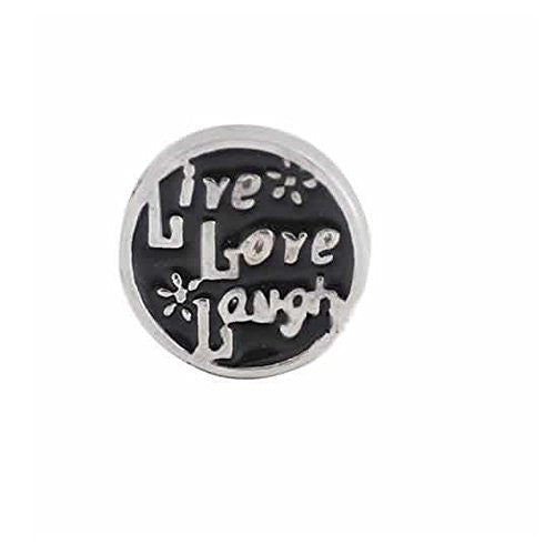 Live Love Laugh Round Locket Crystal Necklace Base and Floating Family Charms