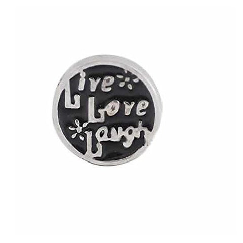 Live Love Laugh Round Locket Crystal Necklace Base and Floating Family Charms - Sexy Sparkles Fashion Jewelry - 1