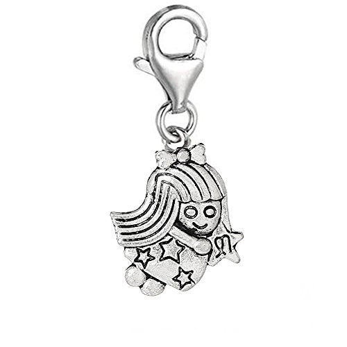 Virgo Zodiac Clip On For Bracelet Charm Pendant for European Charm Jewelry w/ Lobster Clasp