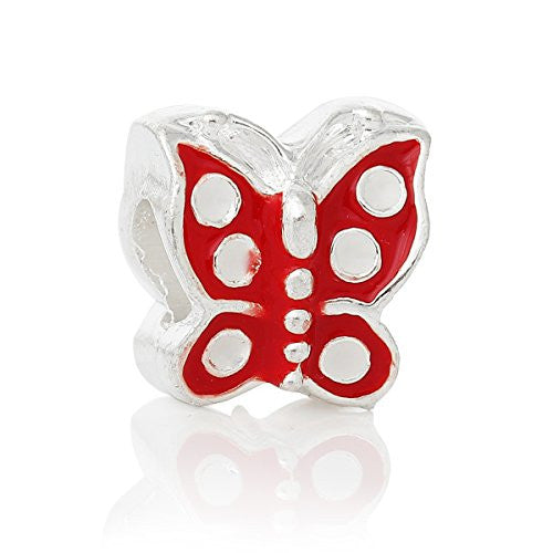 Red Enamel Mother's Day Butterfly European Bead Compatible for Most European Snake Chain Bracelet