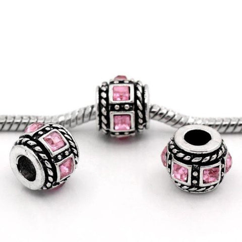 Square Design Pink Crystal European Bead Compatible for Most European Snake Chain Charm Bracelets - Sexy Sparkles Fashion Jewelry - 3