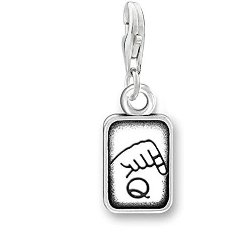 "Sign Language Charm Pendant for Bracelets or Necklaces ""Q"""