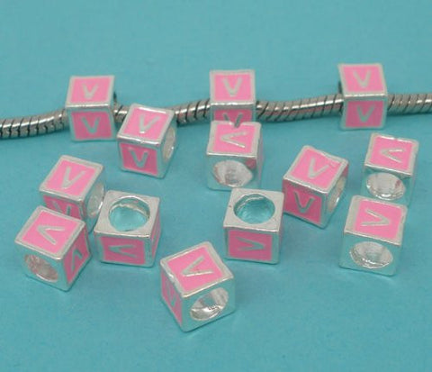 """V"" Letter Square Charm Beads Pink Enamel European Bead Compatible for Most European Snake Chain Charm Bracelets - Sexy Sparkles Fashion Jewelry - 2"