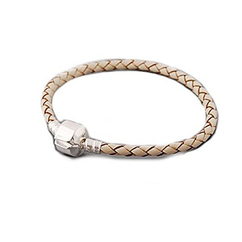 "Genuine Real Braided Leather Bracelet (Champagne 8.0"")Fits Beads For European Snake Chain Charms"