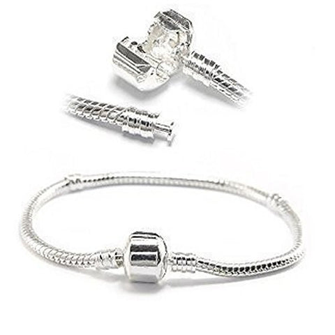 "7.5"" European Style Snake Chain Charm Bracelets Silver Plated - Sexy Sparkles Fashion Jewelry - 1"