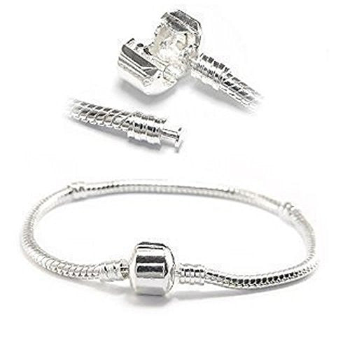 "6.5"" European Style Snake Chain Charm Bracelets Silver Plated - Sexy Sparkles Fashion Jewelry - 1"