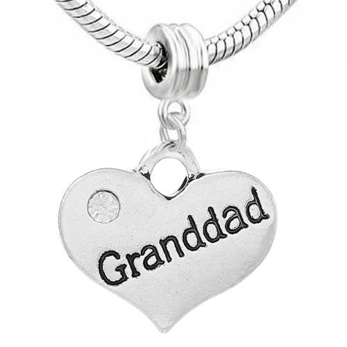 2 Sided Granddad Heart w/Crystal Stones For Snake Chain Charm Bracelet