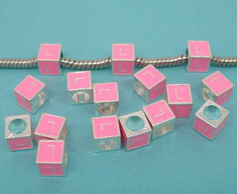 """L"" Letter Square Charm Beads Pink Enamel European Bead Compatible for Most European Snake Chain Charm Bracelets - Sexy Sparkles Fashion Jewelry - 2"
