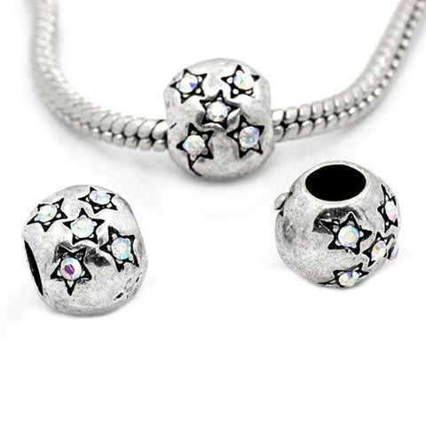 European Charm Beads Antique Silver Star Carved Ab Clear Rhinestone - Sexy Sparkles Fashion Jewelry - 3
