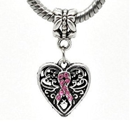 Silver Tone Bead Charm, Breast Cancer Awareness Dangle for Snake Chain Charm Bracelet - Sexy Sparkles Fashion Jewelry - 1