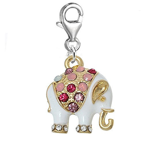 White Multi Elephant Charm Clip on Pendant for European Charm Jewelry w/ Lobster Clasp - Sexy Sparkles Fashion Jewelry