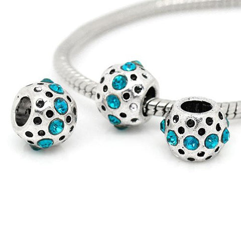 Aqua Rhinestone  Birthstone Charm European Bead Compatible for Most European Snake Chain Bracelets - Sexy Sparkles Fashion Jewelry - 2