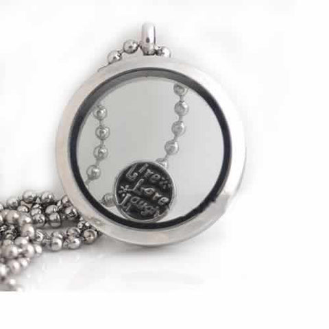 Live Love Laugh Round Locket Crystal Necklace Base and Floating Family Charms - Sexy Sparkles Fashion Jewelry - 2