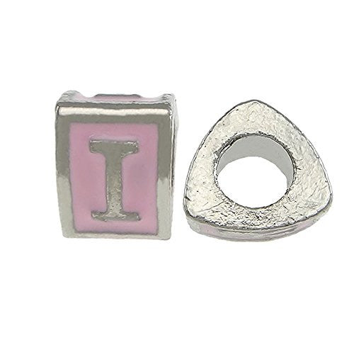 """I"" Letter Triangle Charm Beads Pink Spacer for Snake Chain Charm Bracelet"