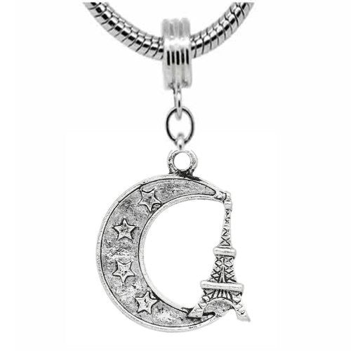 Moon & Eiffel Tower Charm Dangle Charm European Bead Compatible for Most European Snake Chain Bracelets