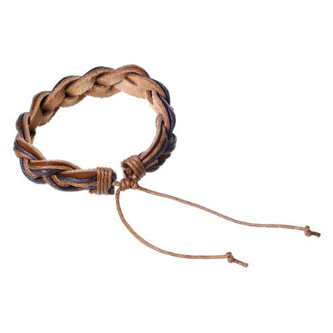 Coffee Cowhide Rope Braided Bracelet - Sexy Sparkles Fashion Jewelry - 2