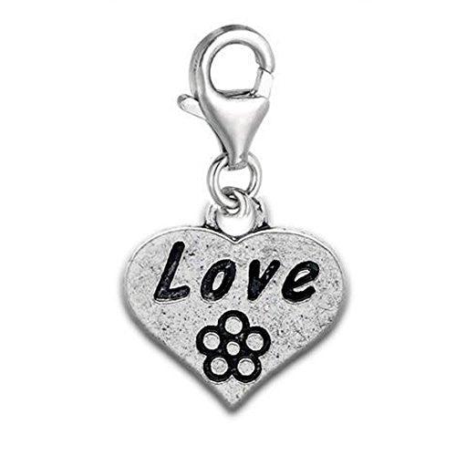 Clip on Love on Heart Dangle Charm Pendant for European Jewelry w/ Lobster Clasp