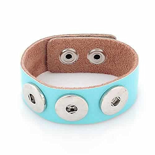 Light Blue Leather Copper Buckle Chunk Bracelets Fit Snaps Chunk Buttons 24cmx2.4cm - Sexy Sparkles Fashion Jewelry