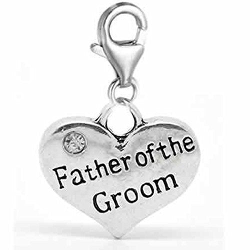 Clip on Wedding Father of the Groom Heart w/ Crystals Charm Dangle Pendant for European Clip on Charm Jewelry w/ Lobster Clasp
