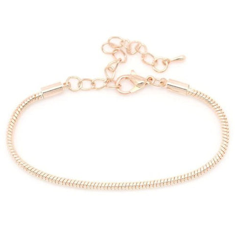 "8.5"" plus 2"" extension Rose Gold Tone Snake Chain Bracelet with Lobster Clasp - Sexy Sparkles Fashion Jewelry - 3"