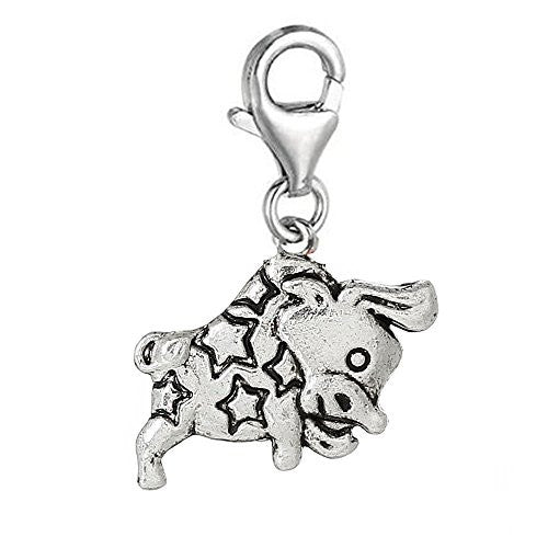 Zodiac Signs Clip On For Bracelet Charm Pendant for European Charm Jewelry w/ Lobster Clasp (Taurus)