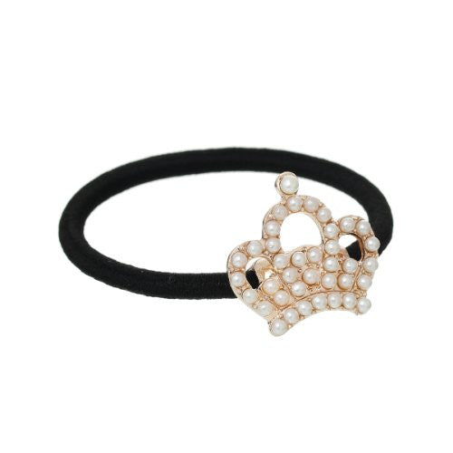 Nylon Cirlce Ring Hair Band Ponytail Holder Black Acrylic Imitation Pearl Choose Your Style From Menu (Crown) - Sexy Sparkles Fashion Jewelry - 1